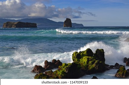 Wild ocean near the coast of Faial Island