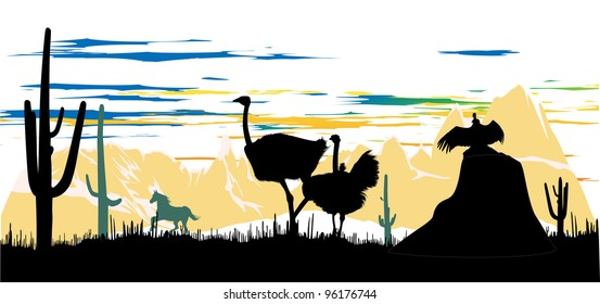 Wild ostriches, horse and vulture on the beautiful mauntain background