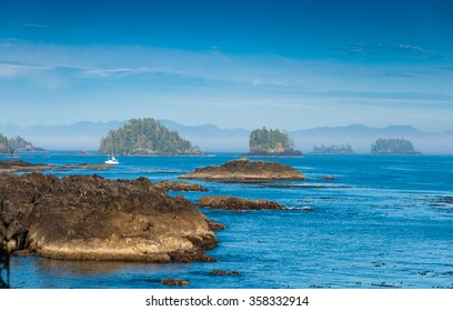 The Wild Pacific Trail located in the District of Ucluelet with the rugged cliffs and shoreline of the westcoast of Vancouver Island, Canada.