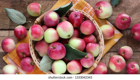 Wild red apples in a basket on a rough table, top view. Rustic garden fruit in the basket.