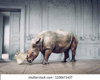 wild rhino in the luxury room interior. photo and media mixed creative concept