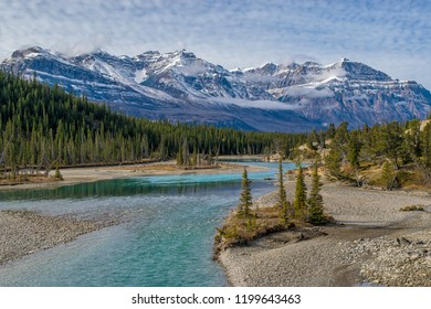 Wild river and Rocky mountains, Banff national Park, Alberta, Canada