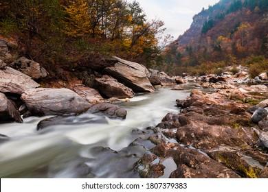 Wild river stream in the mountain