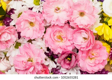Wild roses and chrysanthemum - colorful bunch of flowers arranged as a natural close up background image with white and pink blossoms