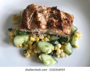 Wild Salmon in Corn and Cucumber Salsa