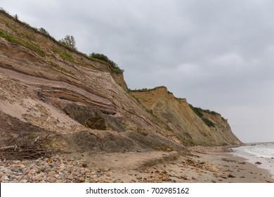 Wild sandy cliffs of the Baltic sea.
