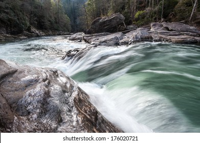 Wild and Scenic Chattooga River Seven Foot Falls Section Four Whitewater Rapid Winter Icy Scenic Landscape in South Carolina and Georgia