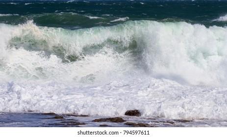 Wild seas at Newcastle beach, NSW, Australia