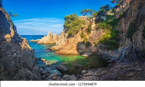 Wild seascape of bay in Mediterranean sea on clear sunny day. Amazing view of rocky shores against blue sky and coastline. amazing sea nature of Costa Brava, Spain. Landscape of Bay in Lloret de mar