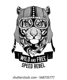 Wild tiger Wild cat Be wild and free T-shirt emblem, template Biker, motorcycle design Hand drawn illustration