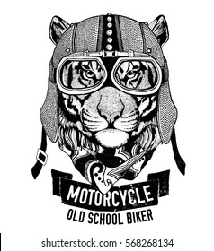 Wild TIGER for motorcycle, biker t-shirt Hand drawn image