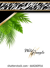 Wild tropical jungle background with tiger pattern and green palm leaves. Card in material design style.