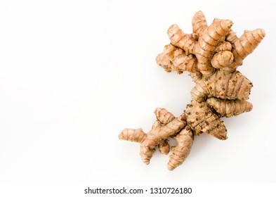 Wild Turmeric (Curcuma aromatica salisb)on white background