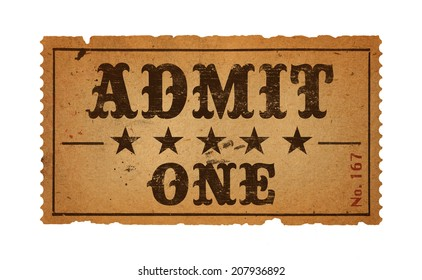 Wild West Admit One Movie Ticket Isolated on White Background.