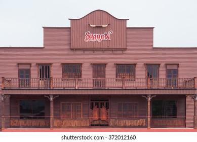 Wild West desert cowboy town with saloon
