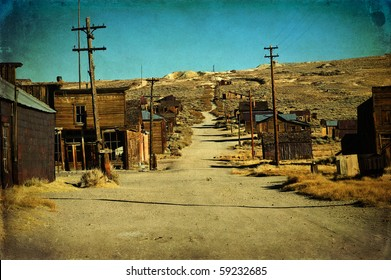 wild west ghost gold town. grunge old ghost town western usa. bodie national historic park in California america. western american town in depression and ruin.