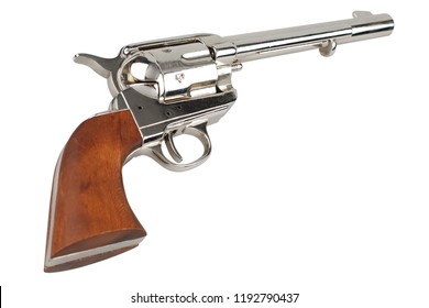 wild west revolver - colt single action army isolated on white background