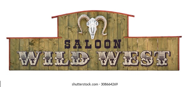 Wild west saloon signboard on wooden board with sheep skull.