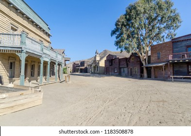 wild west street in a typical town. Film set in tabernas, almeria, spain