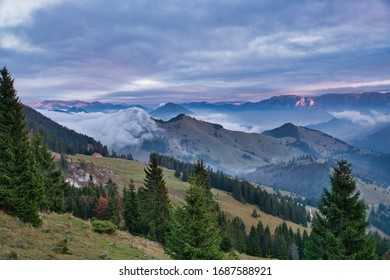 The Wildalpjoch. A popular hiking trail in the german alps. Great view of the hills during sunset. Panoramic view of the mountains. Clouds are moving over the hills. Mystic. Atmosphere. Hiking.