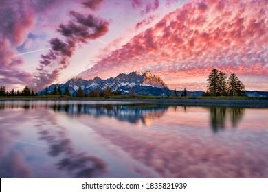 Wilder Kaiser mountain range early in the morning - Shutterstock ID 1835821939