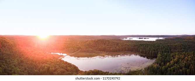 Wilderness Aerial Sunset Over Lakes