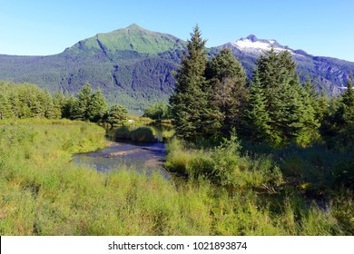 Wilderness landscape of mountains and sea in the Tongass National Forest, near Juneau Alaska, USA