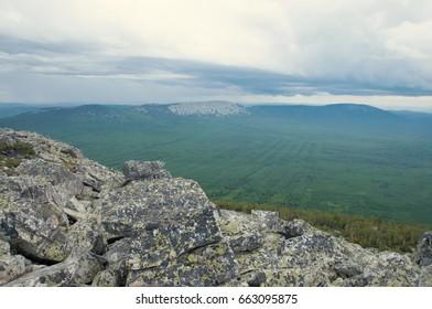 Wilderness of national park Zuratkul seen from the top of Big Uvan mountain ridge, South Ural, Russia