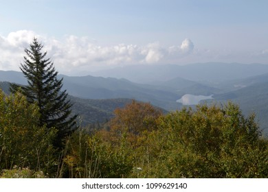 Wilderness view from Mount Mitchell State Park in North Carolina, the highest peak of the Appalachian Mountains and in of mainland eastern North America, showing a vast expanse of mountains, forest, s