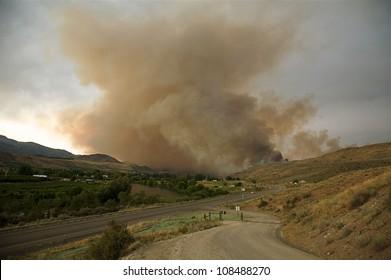 Wildfire; large smoke plume over Okanogan and Omak, Washington