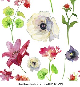 Wildflower  flower pattern in a watercolor style isolated. Aquarelle flower could be used for background, texture, wrapper pattern, frame or border.