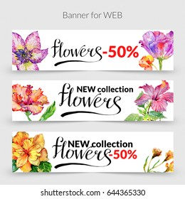 Wildflower hibiscus flower banner in a watercolor style isolated. Aquarelle wild flower for background, texture, wrapper pattern, frame or border.