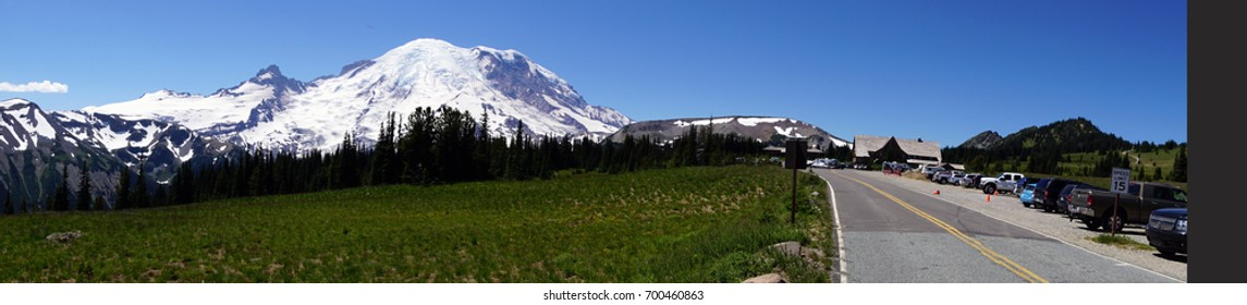 Wildflower meadows at Sunrise on the eastern flank of Mount Rainier National Park, Washington