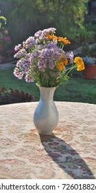 Wildflowers in a vase on a table
