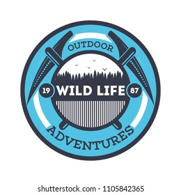 Wildlife adventures vintage isolated badge. Summer camp symbol, mountain and forest explorer, touristic camping label, nature recreation illustration.