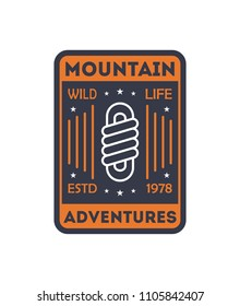 Wildlife adventures vintage isolated badge. Outdoor explorer sign, touristic camping label, nature expedition illustration