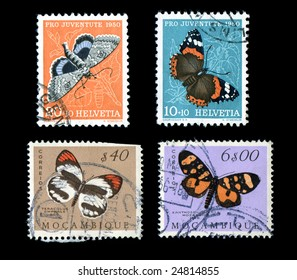 Wildlife animals world stamps isolated black background old butterflies