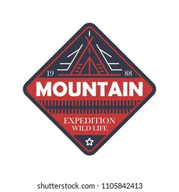 Wildlife expedition vintage isolated badge. Outdoor explorer sign, touristic adventure label, nature camping illustration