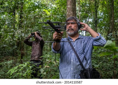 A wildlife researcher animal tracking signal technology,Find animal. The concept of searching