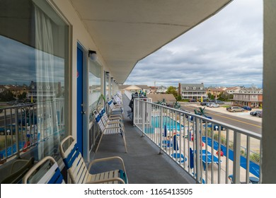 Wildwood New Jersey Doo Wop Motel Balcony with Pool at Beach