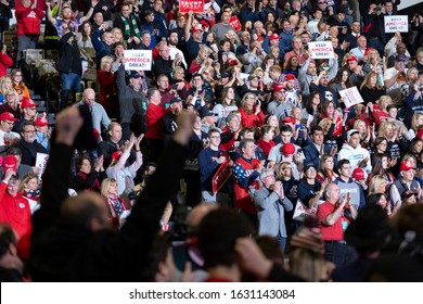 """Wildwood, New Jersey - January 28, 2020: Large crowd of enthusiastic supporters at President Donald Trump's """"Keep America Great"""" campaign rally held at the Wildwoods Convention Center."""