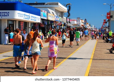 Wildwood, NJ, USA August 23, 2013  Folks enjoy a sunny summer's day on the boardwalk in Wildwood, New Jersey