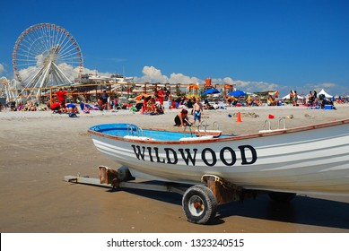 Wildwood, NJ, USA August 24, 2013 A sunny Summer's day brings crowds to the Jersey Shore, as seen in Wildwood, New Jersey