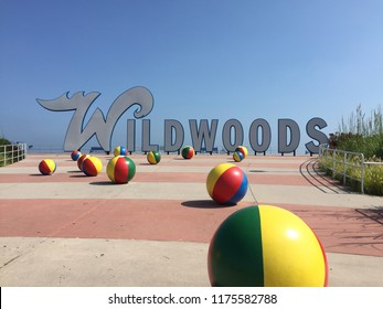 Wildwood N.J/USA/Sept. 7 2018: Wildwood N.J sign welcomes tourists and locals alike the week after Labor Day.