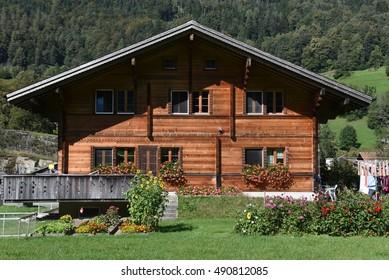 Wilen (Interlaken), Switzerland - 24 September 2016: rural chalets at Wilen on the Swiss alps
