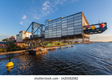 """Wilhelmshaven, Germany - July 01, 2012: historic bridge called """"Kaiser Wilhelm Brücke"""" (emperor William bridge) with scaffolding during reconstruction works"""