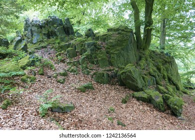 Wilhelmsteine: Rock outcroppings in a forest in Hessen, Germany