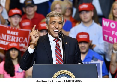 WILKES-BARRE, PA - AUGUST 2, 2018: Congressman Lou Barletta a candidate for Senate in Pennsylvania speaks at a Trump campaign rally.