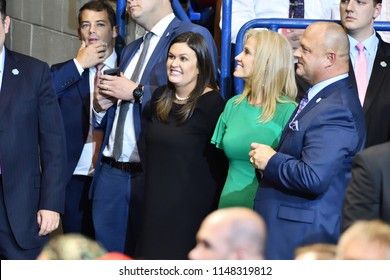 WILKES-BARRE, PA - AUGUST 2, 2018: Sarah Huckabee Sanders and Kellyanne Conway attend a President Trump campaign rally for Congressman Lou Barletta.