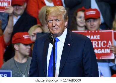 WILKES-BARRE, PA - AUGUST 2, 2018: President Trump portrait as he pauses on stage at a campaign rally for Congressman Lou Barletta.